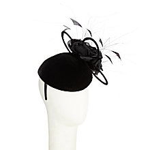 Buy John Lewis Ann Long Velvet Pillbox Fascinator, Black Online at johnlewis.com