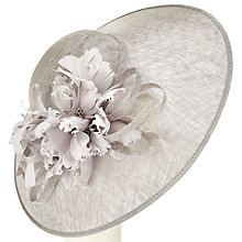 Buy John Lewis Rei Feather Flower Disc Occasion Hat, Silver Online at johnlewis.com
