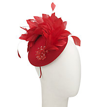 Buy John Lewis Tia Beaded Feather Pillbox Fascinator, Red Online at johnlewis.com