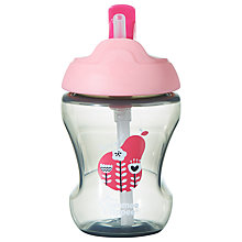 Buy Tommee Tippee Baby Beaker with Straw, 230ml, Pink Online at johnlewis.com