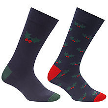 Buy John Lewis Christmas Holly Socks, One Size, Pack of 2, Navy Online at johnlewis.com