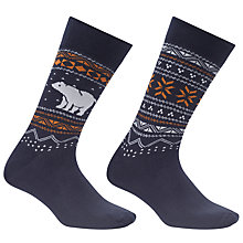 Buy John Lewis Polar Bear Fair Isle Socks, One Size, Pack of 2, Navy Online at johnlewis.com