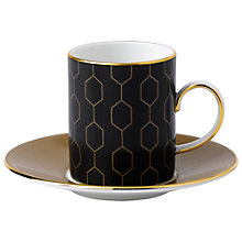 Buy Wedgwood Arris Espresso Cup and Saucer, Honeycomb, Set of 2, Black Online at johnlewis.com