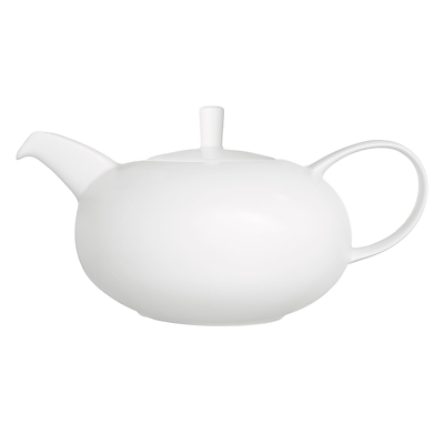 John Lewis Concave Bone China Teapot, White