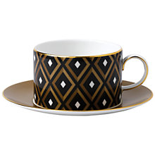 Buy Wedgwood Arris Teacup and Saucer, Geometric, Black Online at johnlewis.com