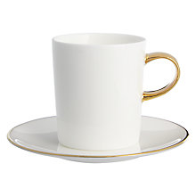 Buy John Lewis Gold Band Espresso Cup and Saucer, White Online at johnlewis.com