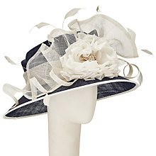 Buy John Lewis Angie Down Brim Sinamay Occasion Hat, Navy/Ivory Online at johnlewis.com