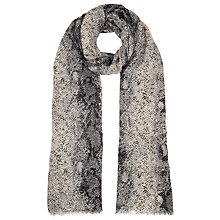 Buy John Lewis Reptile Print Scarf, Black Online at johnlewis.com