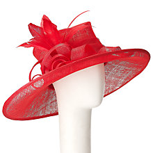Buy John Lewis Kayley Large East West Flower Detail Occasion Hat, Red Online at johnlewis.com