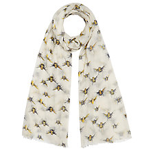 Buy John Lewis Bumblebee Print Scarf, Cream Online at johnlewis.com