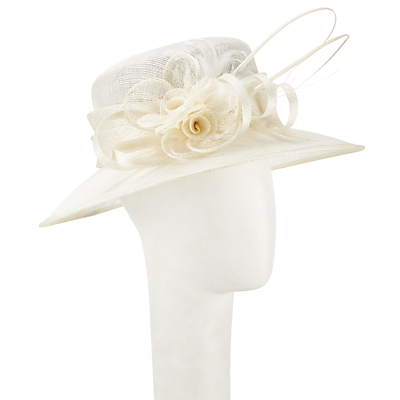 John Lewis Karen Sinamay Flower Detail Occasion Hat Ivory £60.00 AT vintagedancer.com