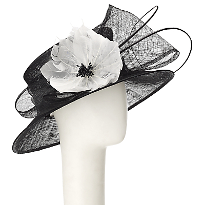 John Lewis Marni Down Brim Flower Detail Occasion Hat BlackWhite £75.00 AT vintagedancer.com