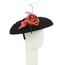 Buy Whiteley Jill Felt Gutter Disc Flower Detail Hat, Black/Coral Online at johnlewis.com