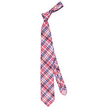 Buy Thomas Pink Bedale Check Woven Silk Tie, Pink/Navy Online at johnlewis.com