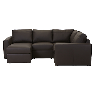 House by John Lewis Finlay II LHF/RHF Small Leather Corner Chaise End Sofa