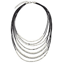 Buy John Lewis Cord Metallic Tube Necklace, Black/Gunmetal Online at johnlewis.com