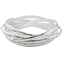 Buy John Lewis Russian Hammered Silver Bangles, Silver Online at johnlewis.com
