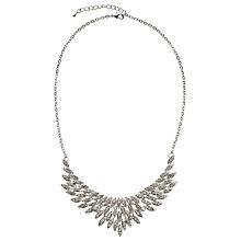 Buy John Lewis Cubic Zirconia Leaf Fan Necklace, Silver Online at johnlewis.com