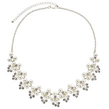 Buy John Lewis Faux Pearl Flower Collar Necklace, White Online at johnlewis.com