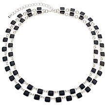 Buy John Lewis Layer Square Necklace, Silver/Blue Online at johnlewis.com
