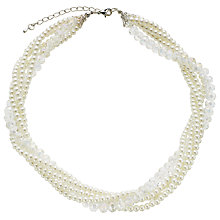 Buy John Lewis Faux Pearl and Bead Twist Necklace, Pearl Online at johnlewis.com
