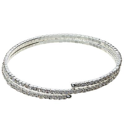 John Lewis Skinny Double Row Diamante Bracelet, Silver