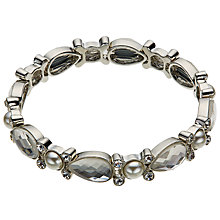 Buy John Lewis Faux Pearl Stone Stretch Bracelet, Silver Online at johnlewis.com