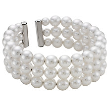 Buy John Lewis Faux Pearl Cuff Bracelet, White Online at johnlewis.com