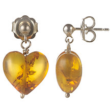 Buy Cobra & Bellamy Silver Amber Heart Drop Earrings, Brown Online at johnlewis.com