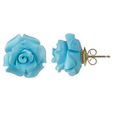 Buy Cobra & Bellamy 18ct Gold Turquoise Rose Carved Stud Earrings, Blue Online at johnlewis.com