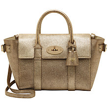 Buy Mulberry Bayswater Mini Buckle Leather Grab Bag, Metallic Mushroom Online at johnlewis.com