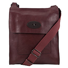 Buy Mulberry Antony Leather Messenger Across Body Bag, Oxblood Online at johnlewis.com