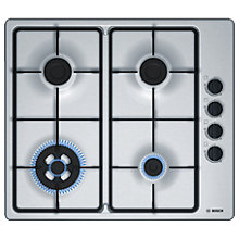 Buy Bosch Serie 2 PBH6B5B60 Gas Hob with Wok Burner, Brushed Stainless Steel Online at johnlewis.com