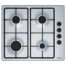 Buy Bosch Serie 2 PBP6B5B60 Gas Hob, Brushed Stainless Steel Online at johnlewis.com