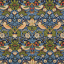 Buy Morris & Co Strawberry Thief PVC Tablecloth Fabric, Indigo Online at johnlewis.com