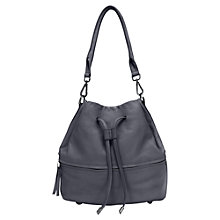 Buy Mint Velvet Ira Leather Drawstring Bag, Grey Online at johnlewis.com