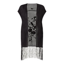 Buy Jigsaw Fringe Embroidered Silk Cape, Black Online at johnlewis.com
