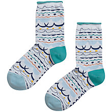 Buy John Lewis Arty Wave Ankle Socks, Blue Online at johnlewis.com