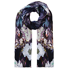 Buy Faye Et Fille Smudge Floral Abstract Print Scarf, Purple Online at johnlewis.com