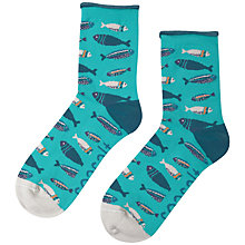 Buy John Lewis Arty Fish Ankle Socks, Blue Online at johnlewis.com