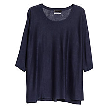 Buy Mango Wide Linen Jumper, Dark Blue Online at johnlewis.com