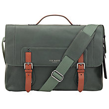 Buy Ted Baker Boombag Leather Messenger Bag, Green Online at johnlewis.com