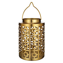 Buy John Lewis Deco Square Medium Hurricane Lamp, Gold Online at johnlewis.com