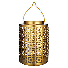 Buy John Lewis Deco Square Large Hurricane Lamp, Gold Online at johnlewis.com