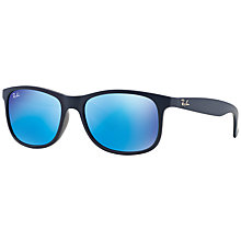 Buy Ray-Ban RB4202 Andy Rectangular Framed Sunglasses, Blue Online at johnlewis.com