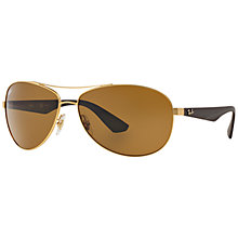 Buy Ray-Ban RB3526 Polarised Pilot Sunglasses, Brown Online at johnlewis.com