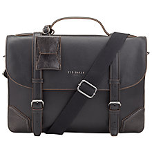 Buy Ted Baker Lextons Leather Contrast Corner Briefcase, Black Online at johnlewis.com