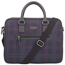 Buy Ted Baker Printed Check Messenger Bag, Navy Online at johnlewis.com
