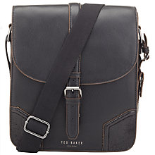 Buy Ted Baker Jamtons Contrast Corner Leather Flight Bag, Black Online at johnlewis.com