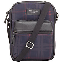 Buy Ted Baker Ombre Check Print Flight Bag, Navy Online at johnlewis.com